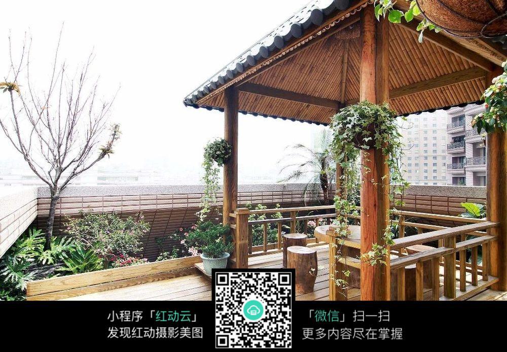 免费素材 图片素材 环境居住 室内设计 庭院木制凉亭兔  请您分享图片