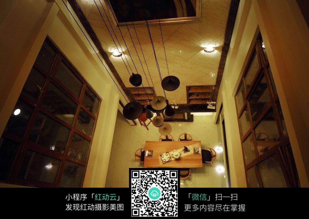 俯视餐厅图片素材