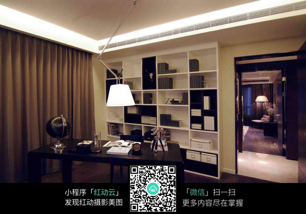 黑色空间书房高清图片_室内设计图片图片