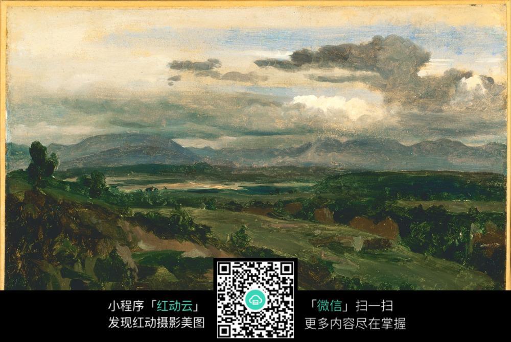 蓝天森林风景油画