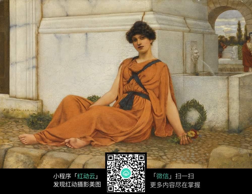 罗马女神坐下油画图片