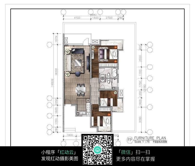 三室两厅装修图纸图片