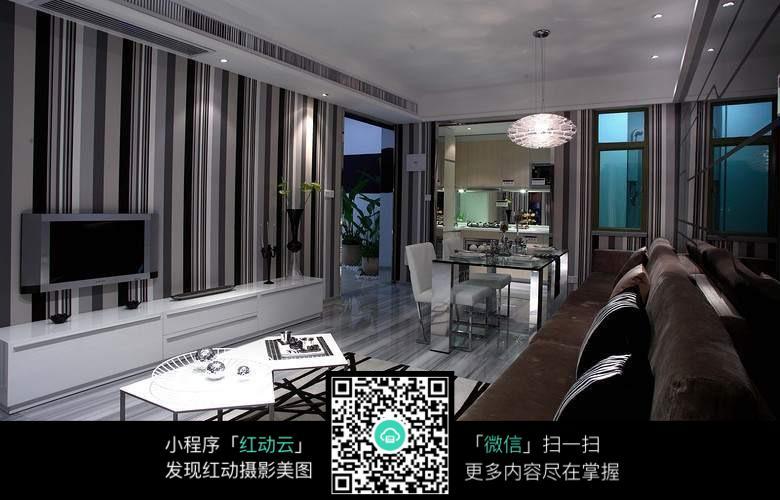 条纹电视背景墙_室内设计图片