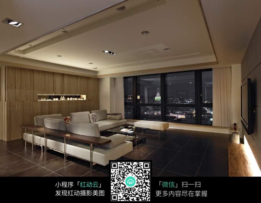 免费素材 图片素材 环境居住 室内设计 晚上的客厅室内装修效果图  请图片