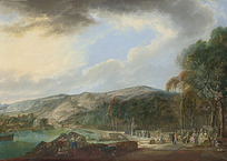 古典欧洲人物春游场景油画