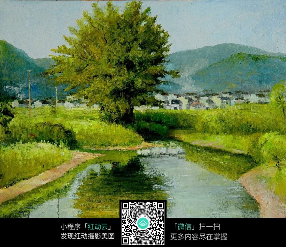 古镇树木风景油画图片