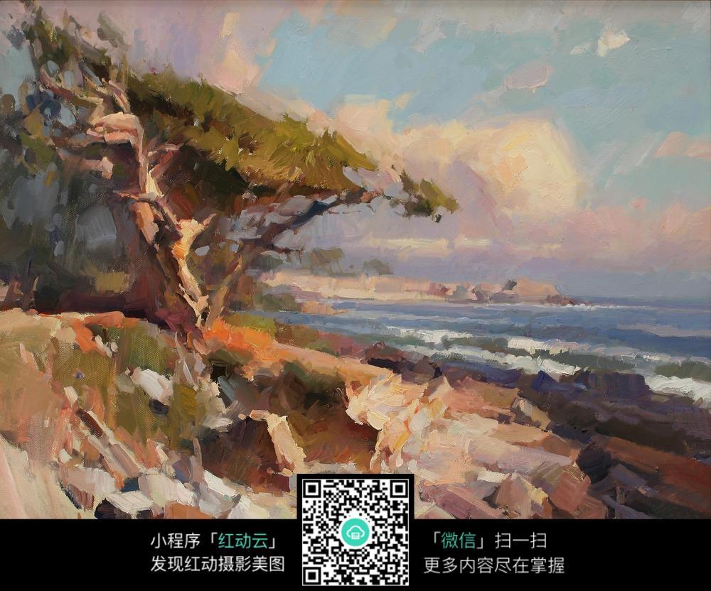 印象派  写生绘画  海边风景手绘画   大厅挂画   美术绘画  绘画艺术