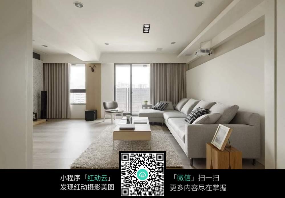 简洁灰白色室内装修效果图