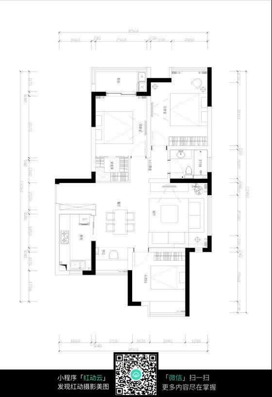 免费素材 图片素材 环境居住 室内设计 简洁室内房间布局3d图纸  请您