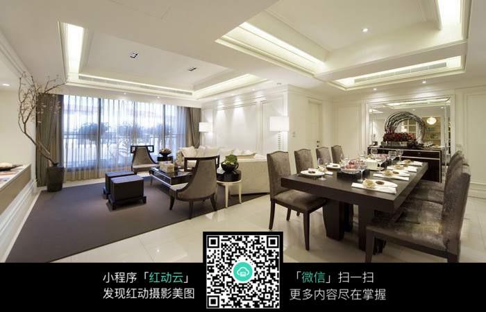 就餐区与客厅全景图_室内设计图片