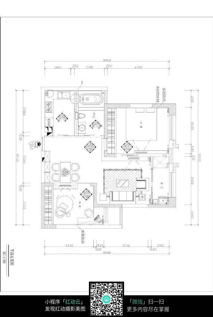 室内房间布局设计图纸素材