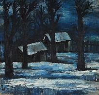 树林里的小木屋油画作品图片图片