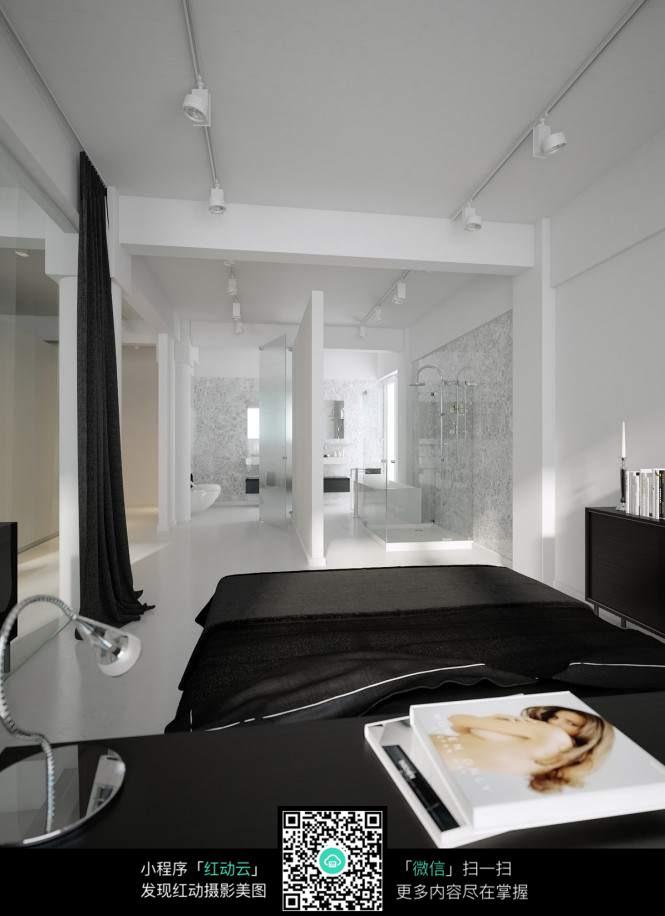 免费素材 图片素材 环境居住 室内设计 卧室与开放式浴室图片