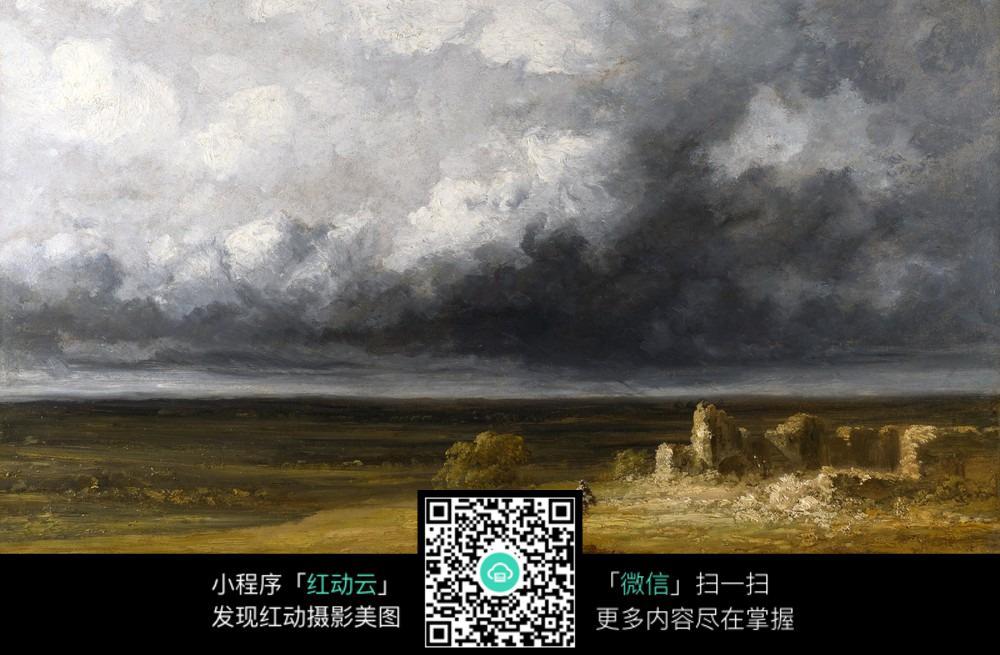 油画 原野 乌云 风景 自然风光 手绘画