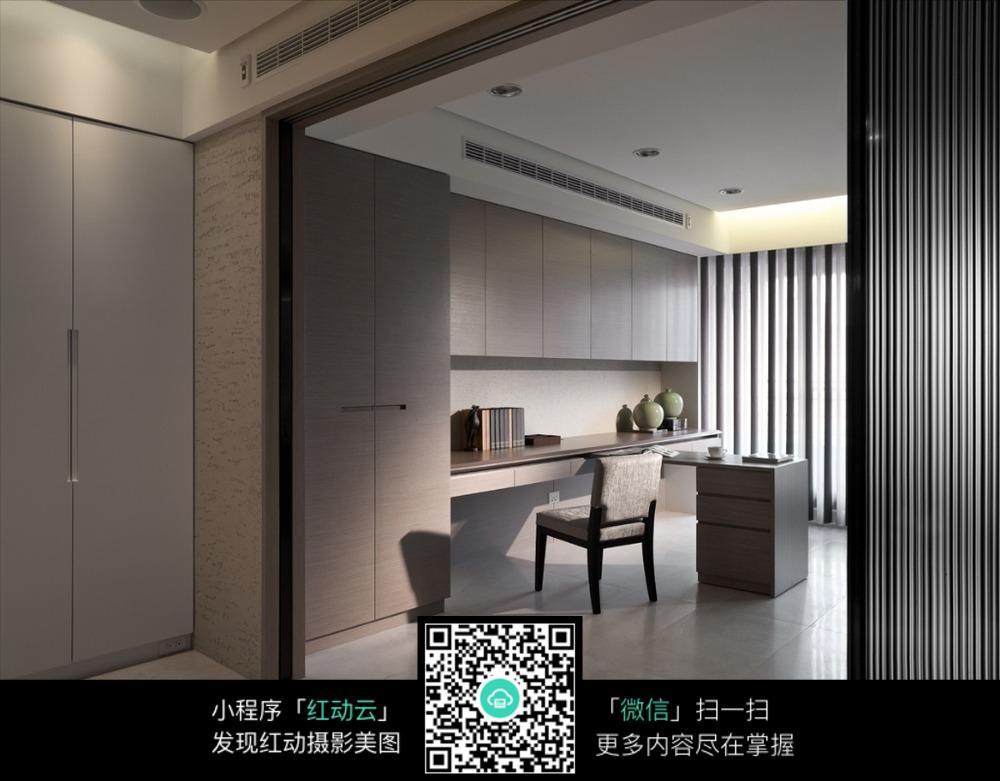 免费素材 图片素材 环境居住 室内设计 简约简洁书房室内效果图  请您图片