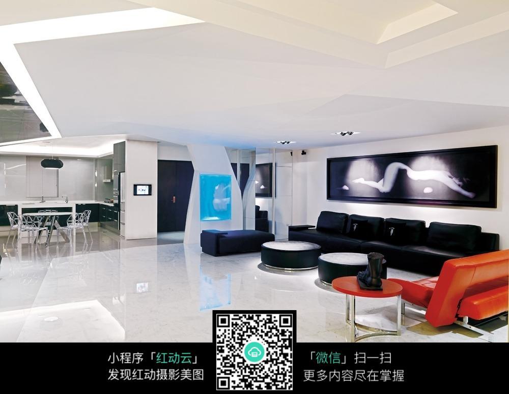宽敞现代客厅室内装修效果图