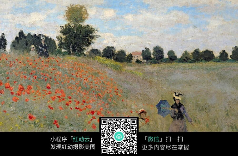 蓝天 白云 花丛 树木 房子 母女 人 花朵  橘红色 开心 幸福 油画