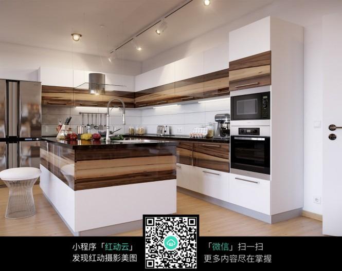 木质与洁白撞色厨房装修效果图