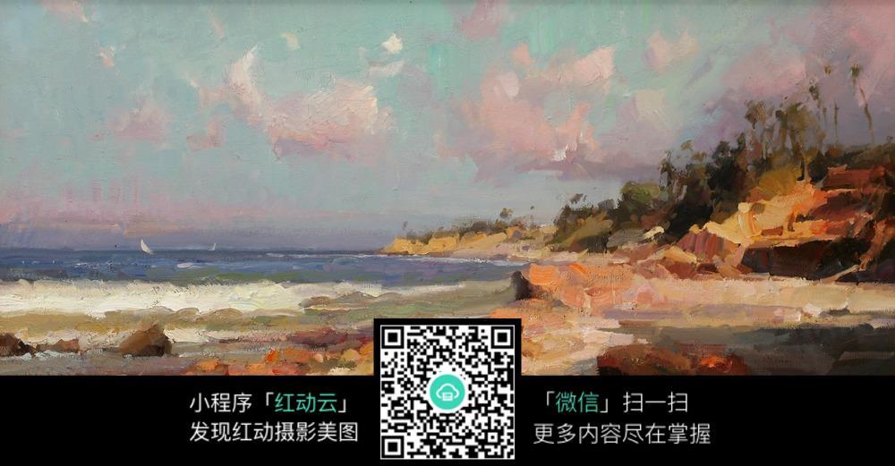 欧式海岸线风景油画特写图片
