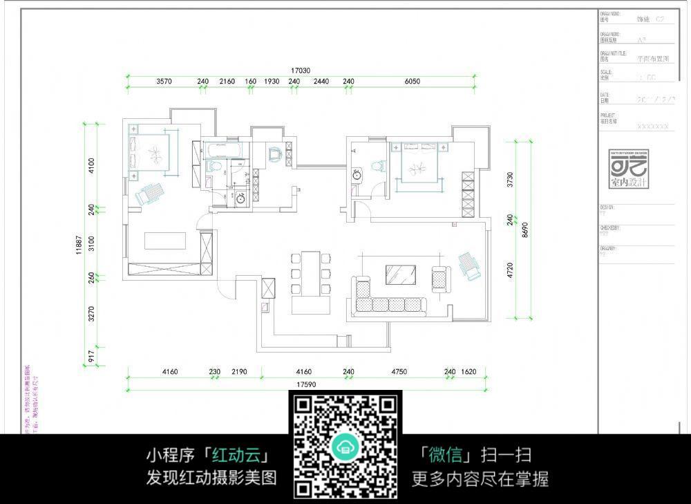 室内家具摆设施工图纸