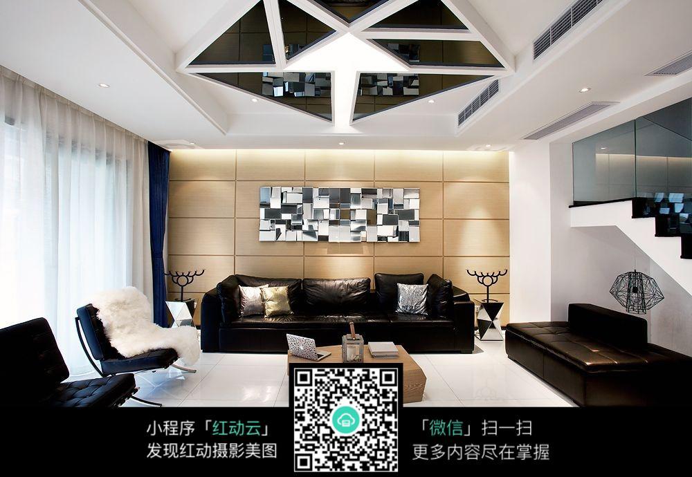 创意天花板客厅室内装修效果图_室内设计图片