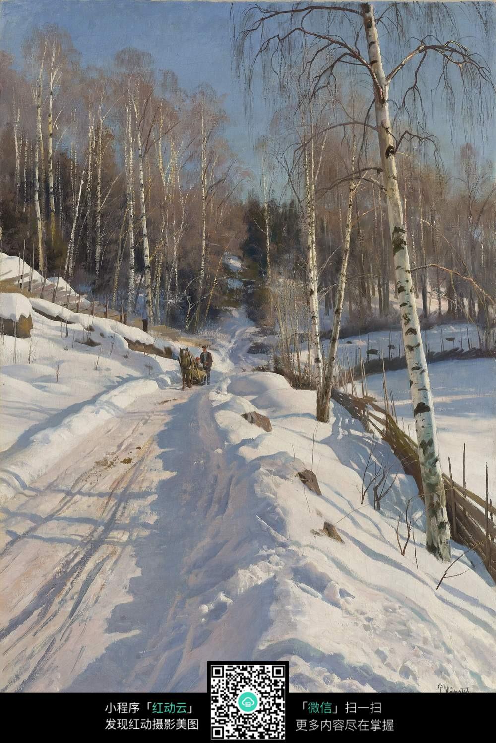 雪地上赶马车的男人图片
