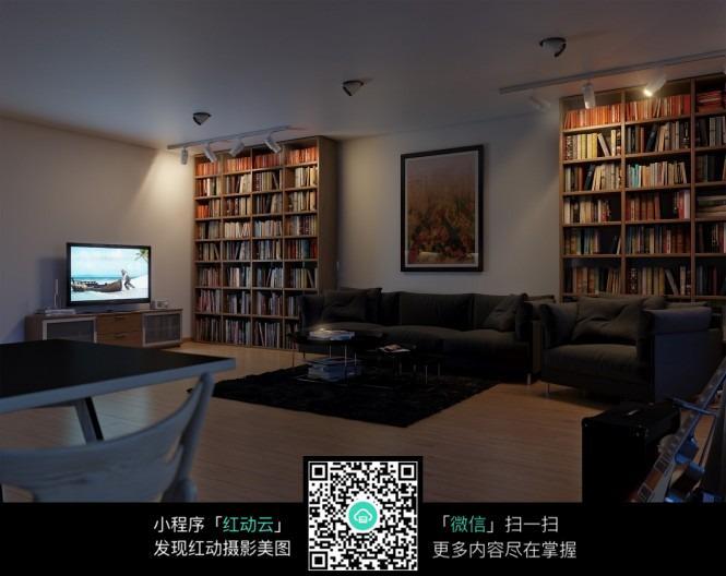 雅致书柜客厅室内装修设计效果图