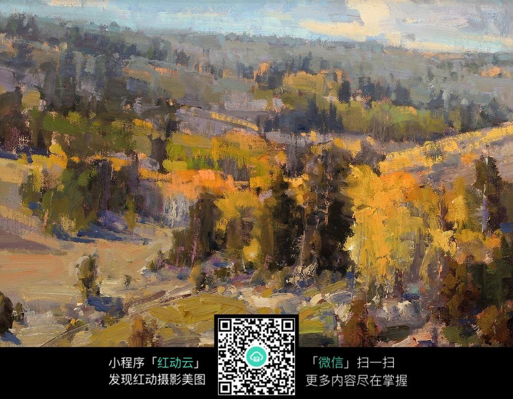丛林树木风景油画绘制