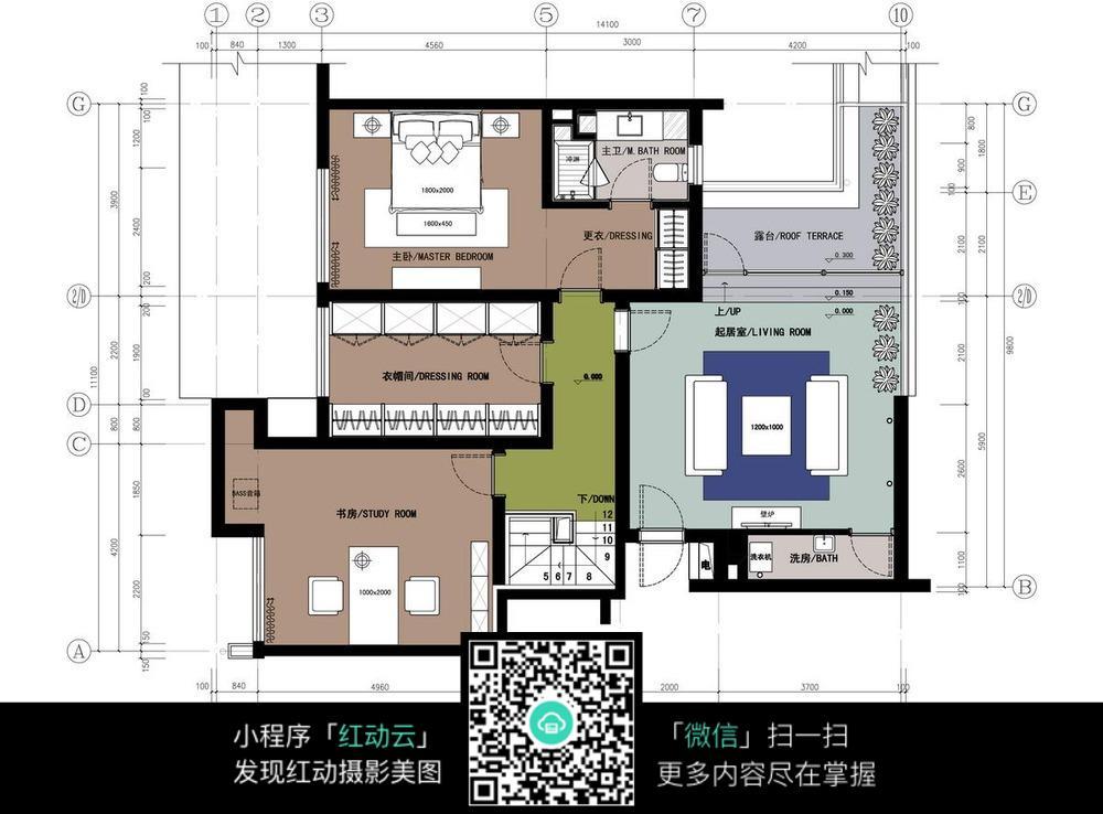 复式楼二层装修施工平面图 室内设计图片 红动手机版图片