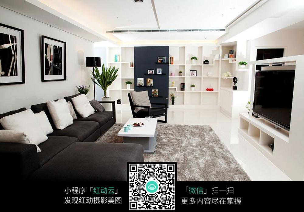 黑白简约客厅装修效果图片