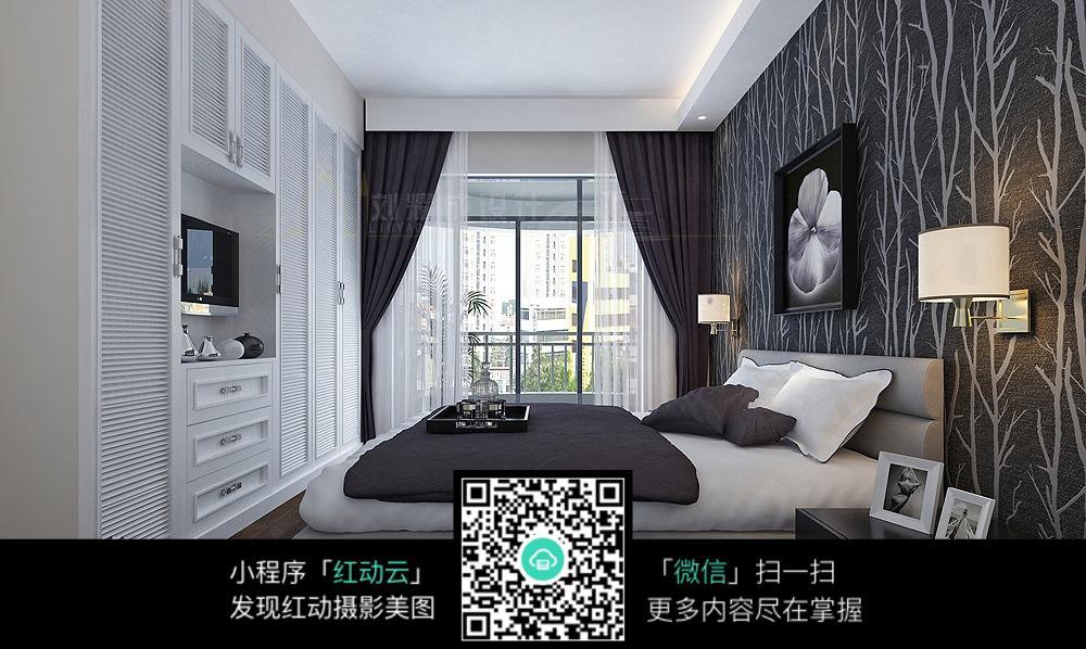 黑白简约卧室装修效果图片