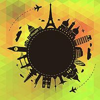 环球旅行剪影背景矢量素材