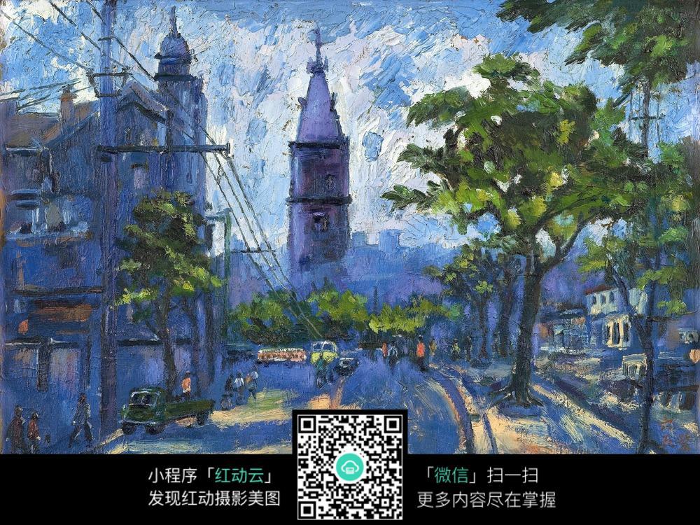 街道风景油画图片