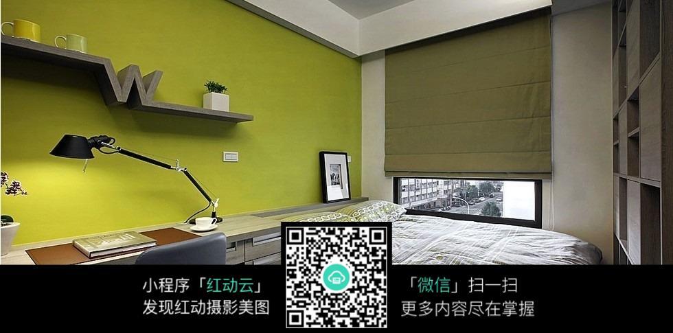 绿色墙壁卧室_室内设计图片