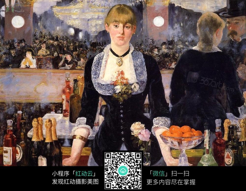 马年贺卡免费模板_马奈油画酒吧里的女人图片免费下载_红动网