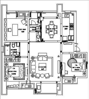 三室两厅两卫室内设计平面布置图