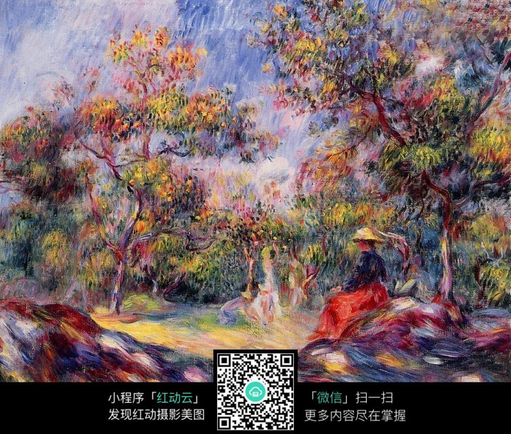 色彩斑斓的秋天果园油画