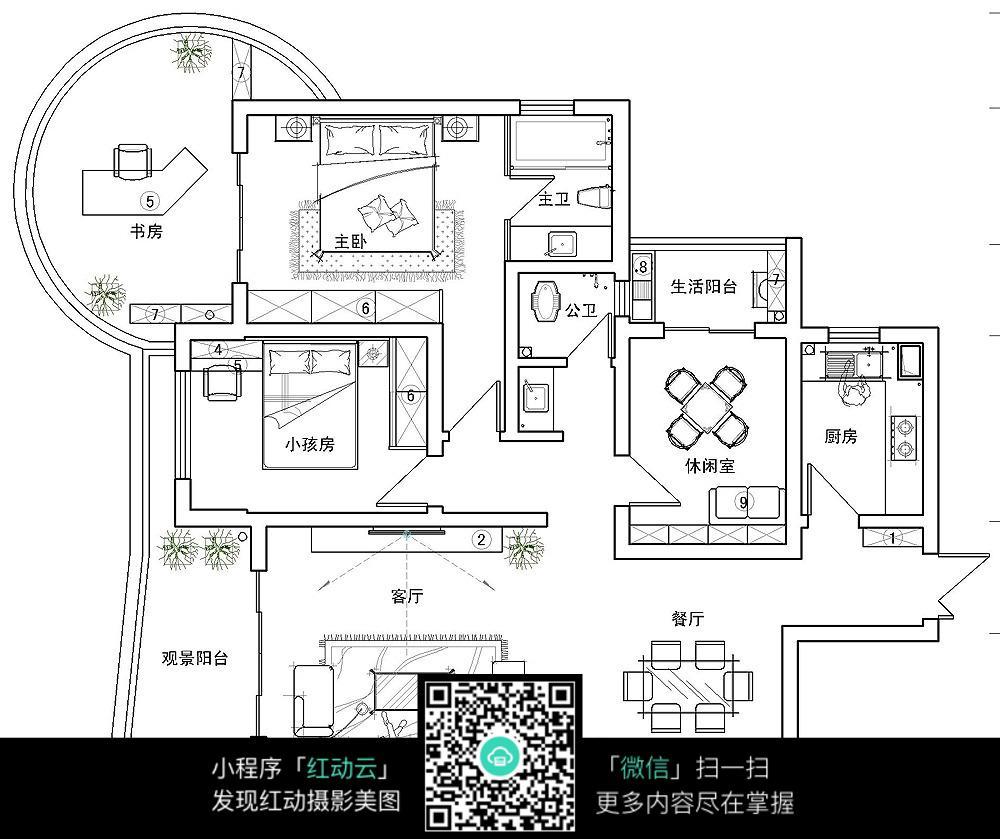 室内房间布局效果平面图纸_室内设计图片