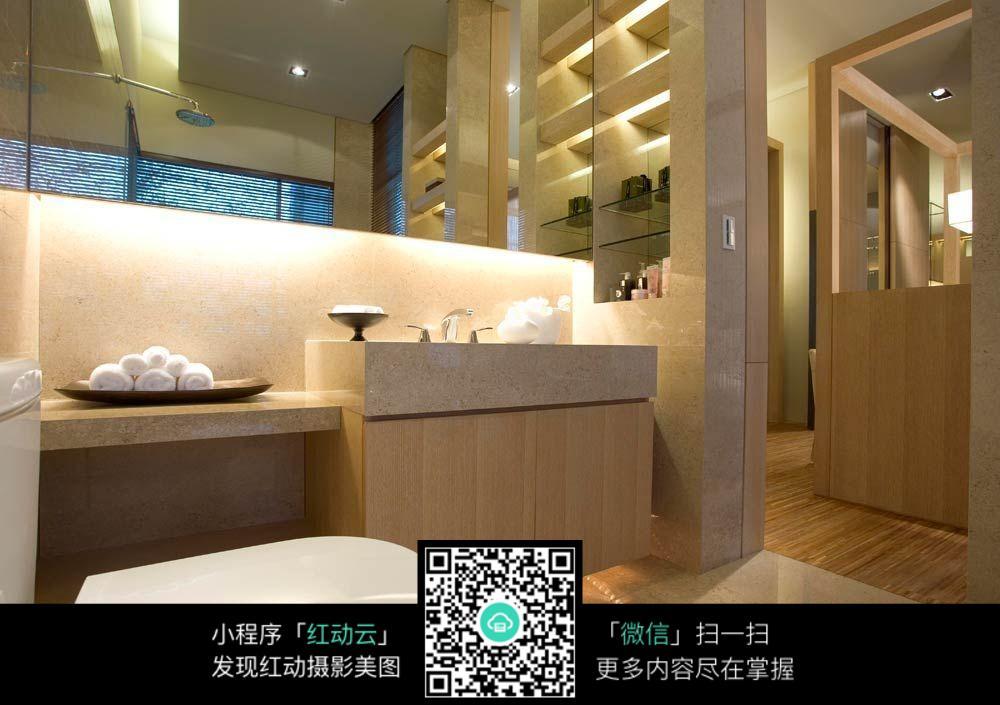 浴室木制洗手池_室内设计图片