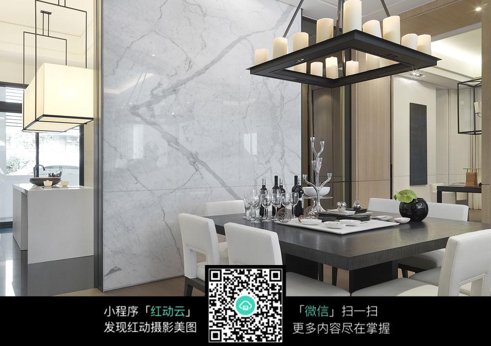 白色简约桌椅_室内设计图片