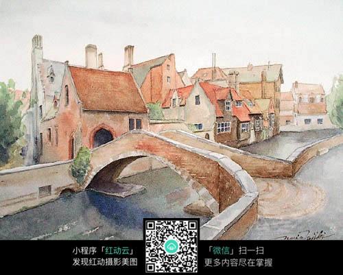 村庄小桥流水人家风景油画装饰画图片