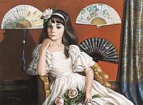 古典白裙女孩欧洲人物油画