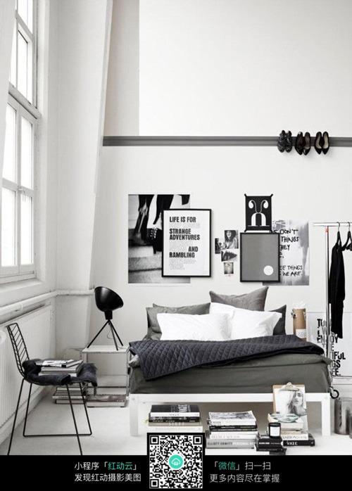 黑白灰现代卧室设计效果图_室内设计图片