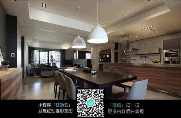 现代简约黑白黑白原木典雅创意家居餐厅厨房客厅