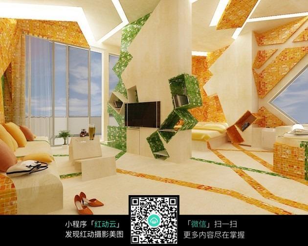 豪华创意客厅卧室设计图片图片