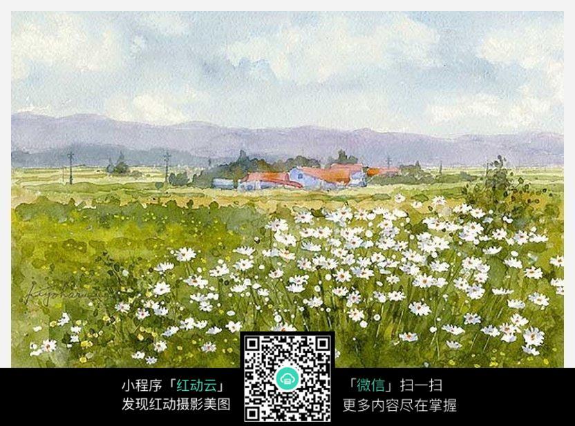 藍天 白云 房屋 鄉村 樹木 山 草地 野花草 自然 風景 色彩 油畫 藝術