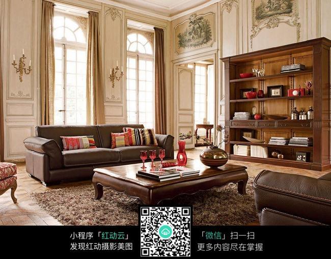 哦欧式古典豪华客厅素材图片
