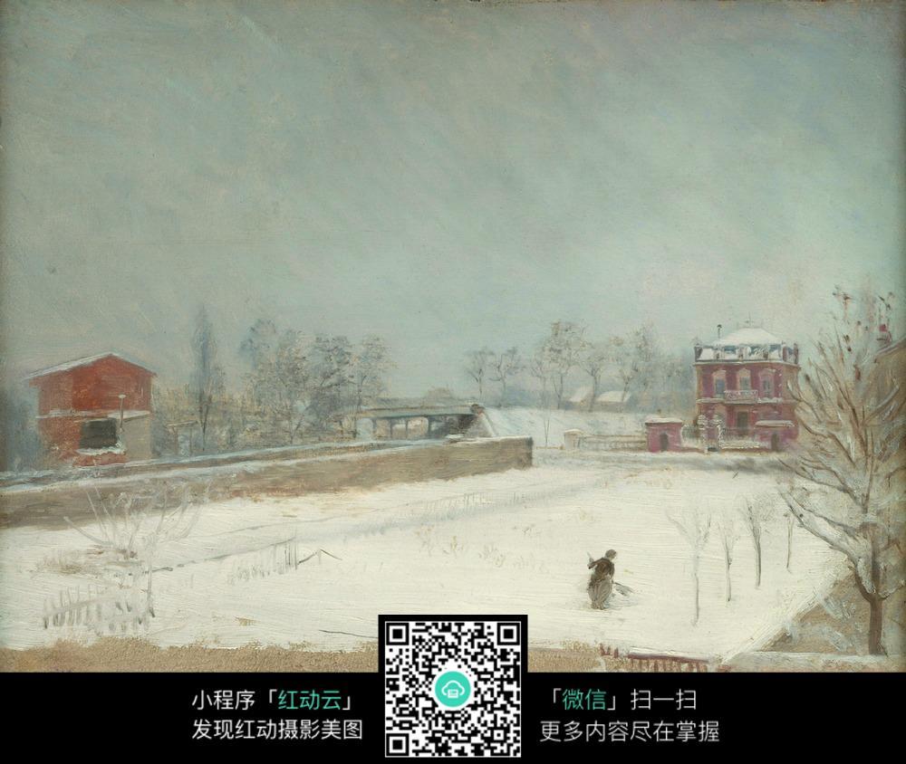 天空下广场上辛劳扫雪的人图片免费下载 编号5359084 红动网图片