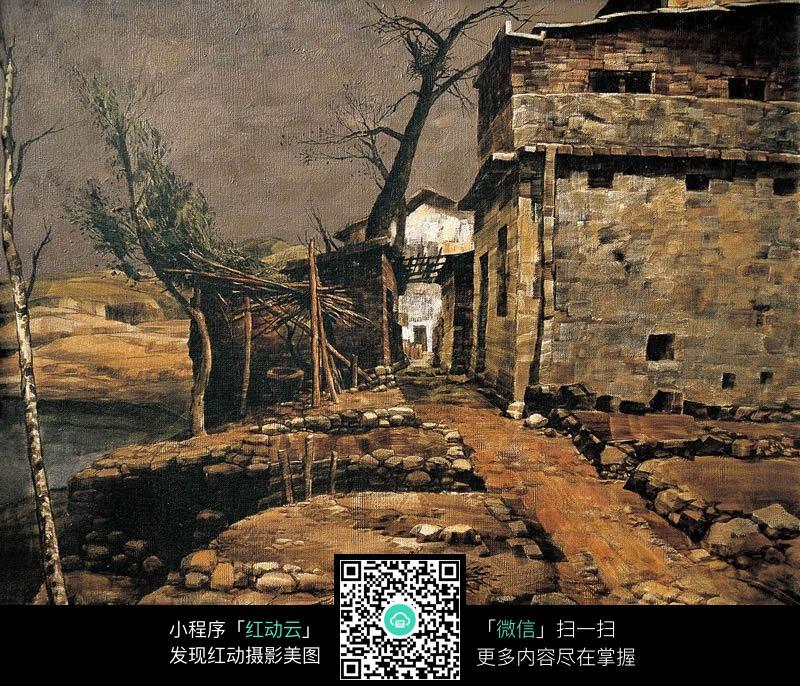 中国风石头房屋装饰画图片