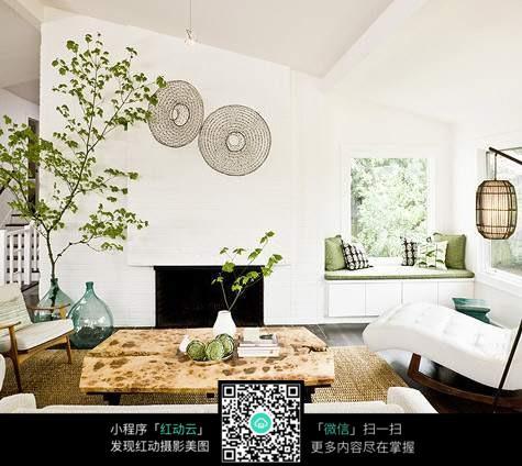绿色文艺客厅室内装修设计效果图
